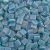 Miyuki Tila Bead 5X5mm 2 Hole Turquoise Green Transparent Aurora Borealis Matte